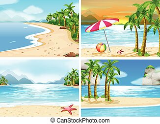 Beach - four scenes of beaches