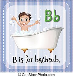 Bathtub - Flashcard alphabet B is for bathtub