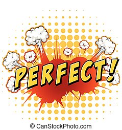 Perfect - Word perfect with cloud explosion background
