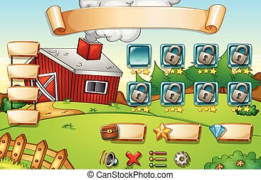 Computer game - Illustration of a computer game with farm...