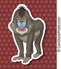 Baboon - Closeup baboon with polkadot background