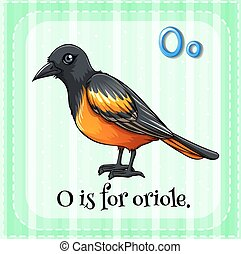 Oriole - Flashcard letter O is for oriole
