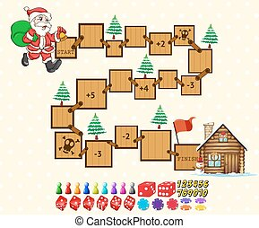 Puzzle game - Illustration of a puzzle game with Santa and a...