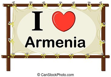 Armenia - I love Armenia sign in wooden frame