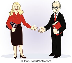 Full length business couple Colour vector illustration
