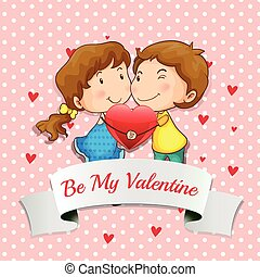 Lovers - Illustration of a valentine card with lovers...