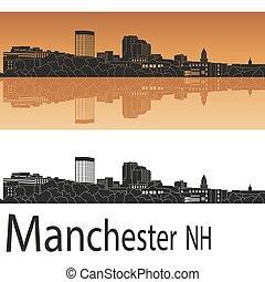 Manchester, NH skyline - Manchester skyline in orange...