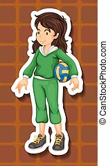 Sportgirl in green jumpsuit holding a volleyball