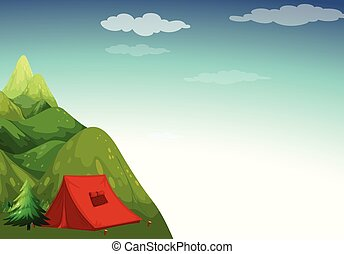 Camping site - Mountain view with camping site on top