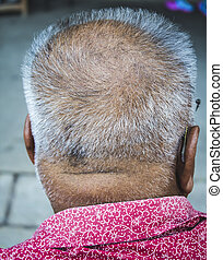 grey haired senior - Back side view of grey haired senior
