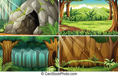 Forest scene - Illustration of four scenes of forests and a...