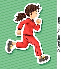 Runner - Happy girl in jumpsuit running alone