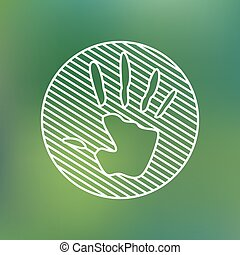 Hand print sign linear icon. Stop pollution environmental symbol. Planet protection care recycling save ecology concept