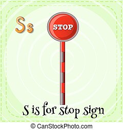 Stop sign - Flashcard alphabet S is for stop sign