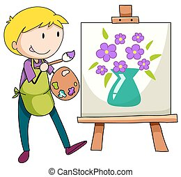 Drawing - Man drawing and painting flowers