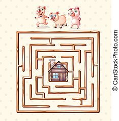 Boardgame - boardgame template with pigs and hut
