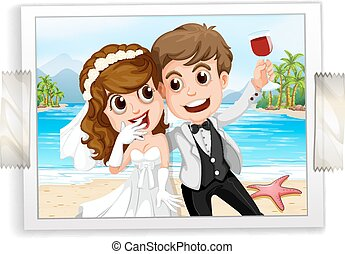 Wedding photo - Wedding couple photo with ocean view in the...