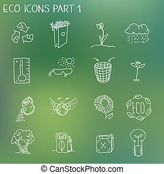 Ecology organic signs eco and bio elements in hand drawn...