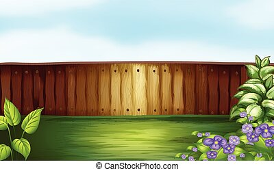 Backyard - Illustration of a backyard with a wooden fence