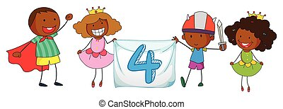 Number 4 - Illustration of a flashcard number four with...