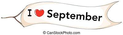 September - I love September banner flying