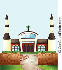 Church - Single church with brick wall