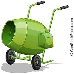 Cement mixer - Close up green cement mixer with handles