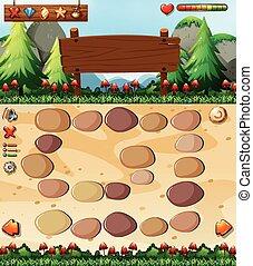 Boardgame template with nature scene