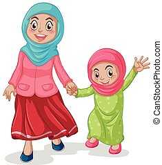 Muslim family mother and daughter