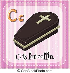 Coffin - Flashcard alphabet C is for coffin