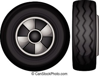 tyres - Illustration of tyres front and side view