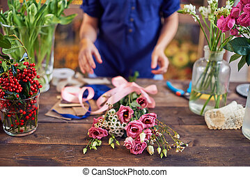 Fresh bouquet - Bunch of flowers with pink ribbon with...