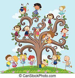 Children and tree - many children on the tree