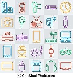 Vector gadgets line icon set