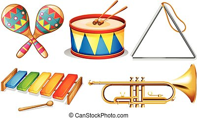 Musical instruments - Illustration of different musical...
