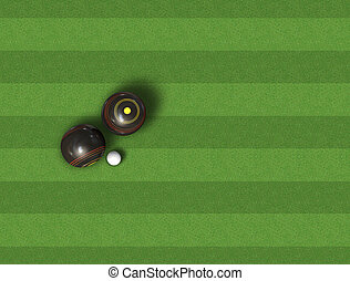 Bowls On Lawn - A top view of a set of wooden lawn bowls...