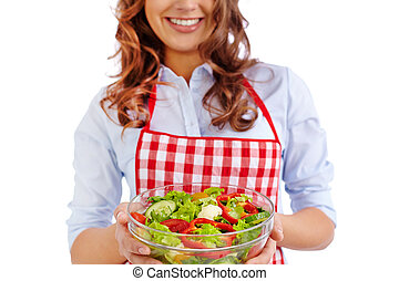 Vegetarian food - Happy girl holding bowl with fresh...