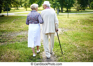 Walking together - Rear view of well-dressed seniors taking...