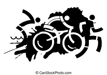 Triathlon grunge motive - Three icons symbolizing triathlon...