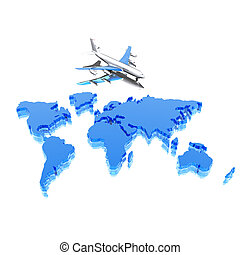 colorful geographical world map with airplane in 3d