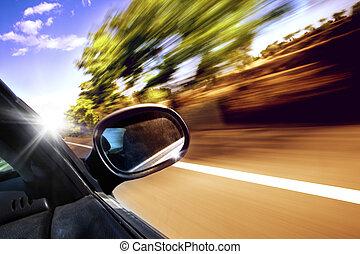 自動車, 旅行, ドライブしなさい, 概念, スピード