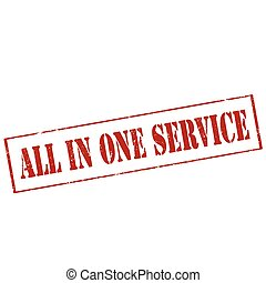 All In One Service - Grunge rubber stamp with text All In...