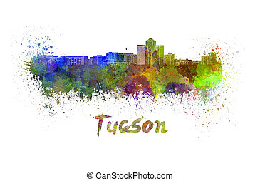 Tucson skyline in watercolor splatters with clipping path