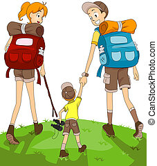 Family Hiking with Clipping Path