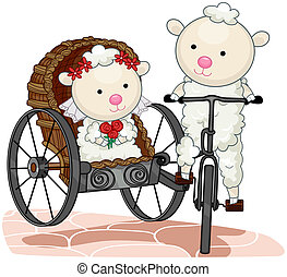 Bride and Groom Sheep with Clipping Path