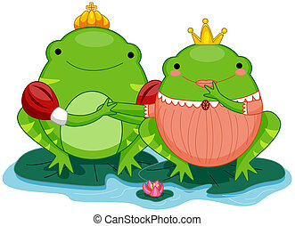 Frog Prince and Princess with Clipping Path