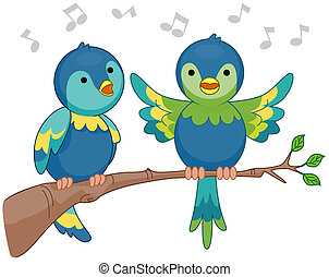 Singing Birds with Clipping Path