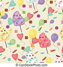 Seamless pattern of sweets, cotton candy, lollipops,...