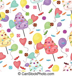 Seamless pattern of sweets, cotton candy, lollipops, small...