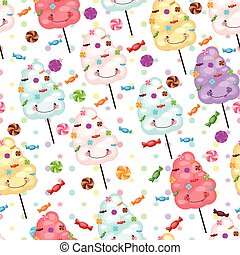 Baby gift seamless background of cotton candy, candy...